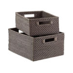Grey Rattan Storage Bins with Handles