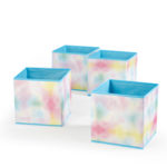 Heritage Club Rainbow Toy Storage Cube, Tie Dye (Set of 4)