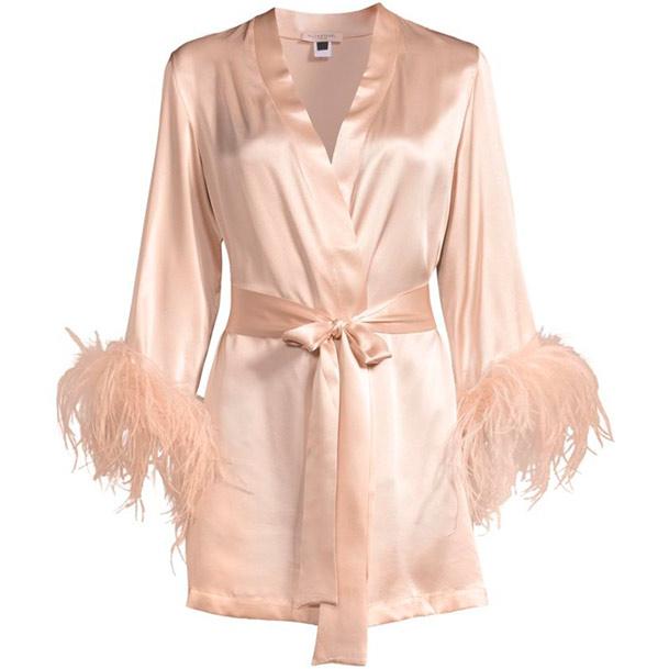Gilda and Pearl Mia Feather-Trim Stretch-Silk Robe