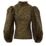 GANNI Puff-sleeve leopard-jacquard blouse