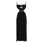 WEWOREWHAT Ruched Sleeveless Cut-Out Knit Dress