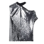 RTA Axel cutout sequined tulle top