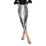 Asos Chi Chi London sequin midi skirt with split in silver