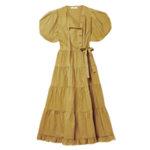 ULLA JOHNSON Agathe tiered cotton-poplin wrap midi dress