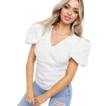 Asos Missguided poplin blouse with puff sleeves in white