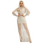 Asos Starlet long sleeve sheer embellished midaxi dress in champagne