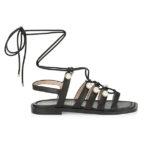 Stuart Weitzman Goldie Embellished Leather Gladiator Sandals