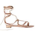 AQUAZZURA Pompei lace-up metallic leather sandals